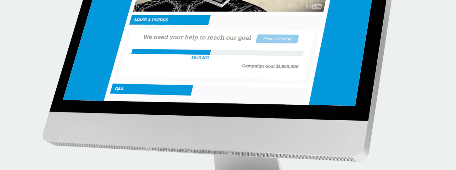 GivingTools progress bar shows how many pledges you've received towards your primary and challenge goals.