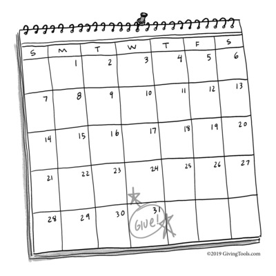 Illustration of calendar with a date marked to make a donation