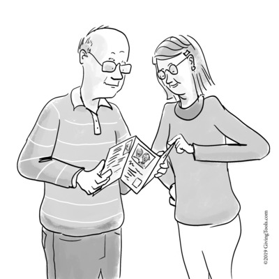 Illustration of an older man and younger woman looking at a planned giving brochure