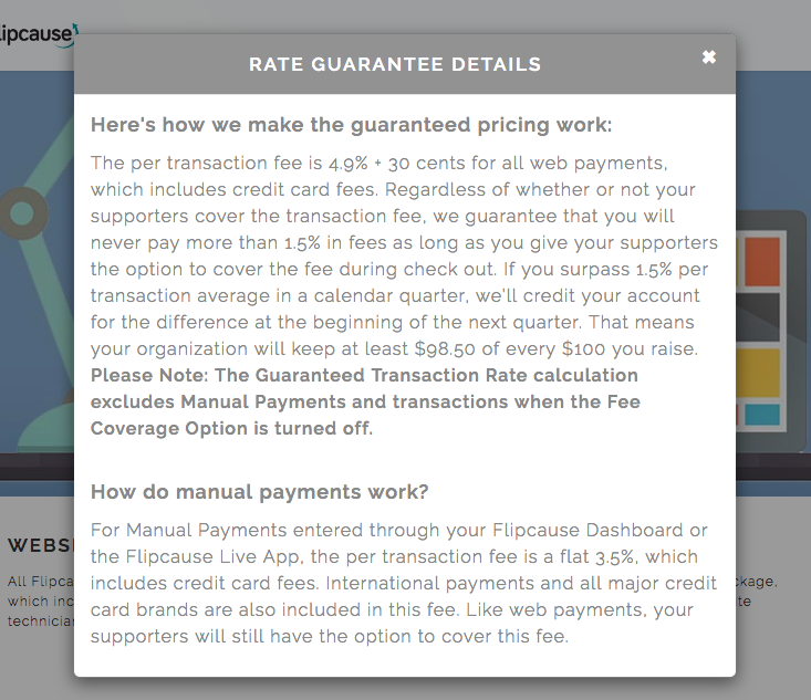 Rate Guarantee Details